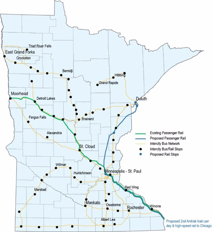 Minnesota's existing and planned intercity passenger rail corridors and existing intercity bus network