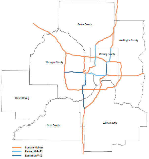 Figure 2-6: Existing & Tier 1 planned MnPASS corridors