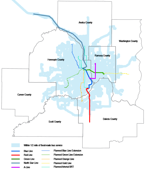 Existing and planned Twin Cities' fixed route public transit