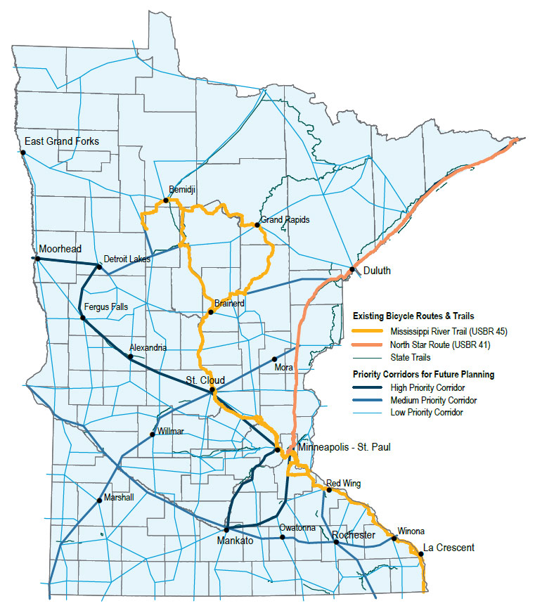 Minnesota's designated state trails & priority future bicycle corridors